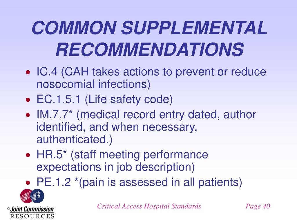 COMMON SUPPLEMENTAL RECOMMENDATIONS
