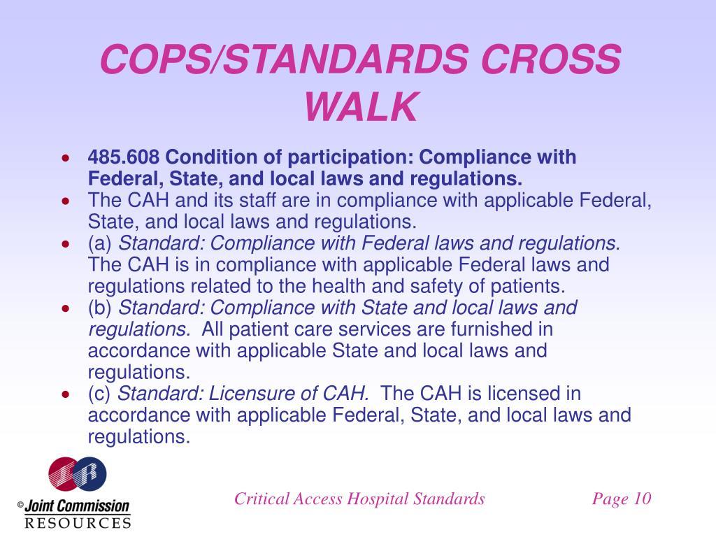 COPS/STANDARDS CROSS WALK