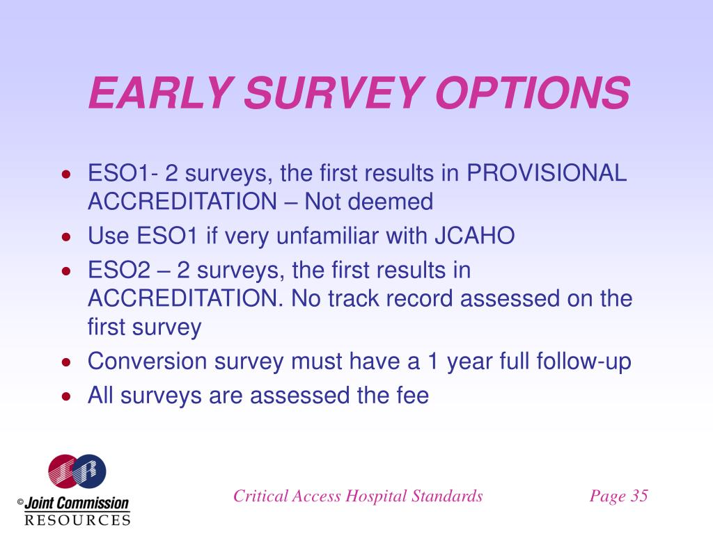 EARLY SURVEY OPTIONS