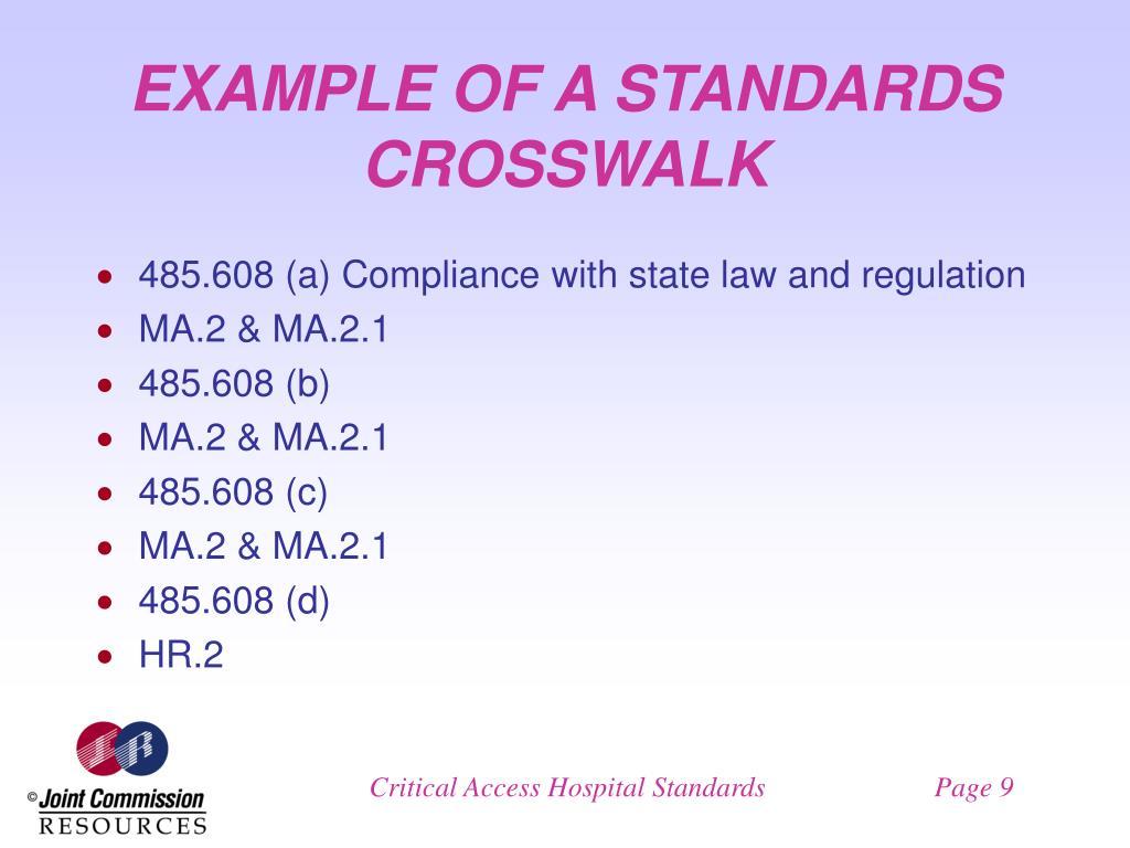 EXAMPLE OF A STANDARDS CROSSWALK