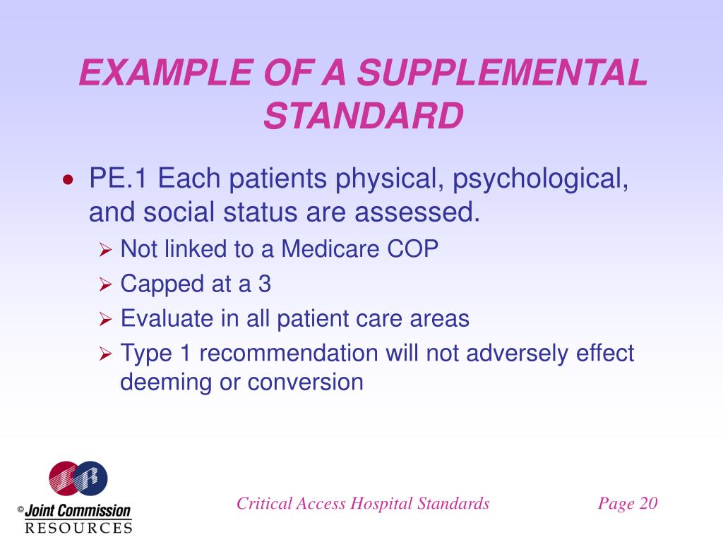 EXAMPLE OF A SUPPLEMENTAL STANDARD