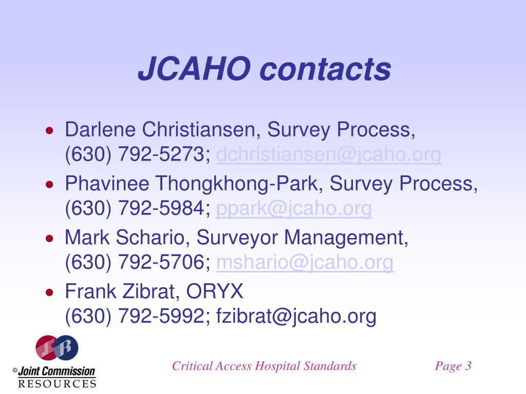 JCAHO contacts