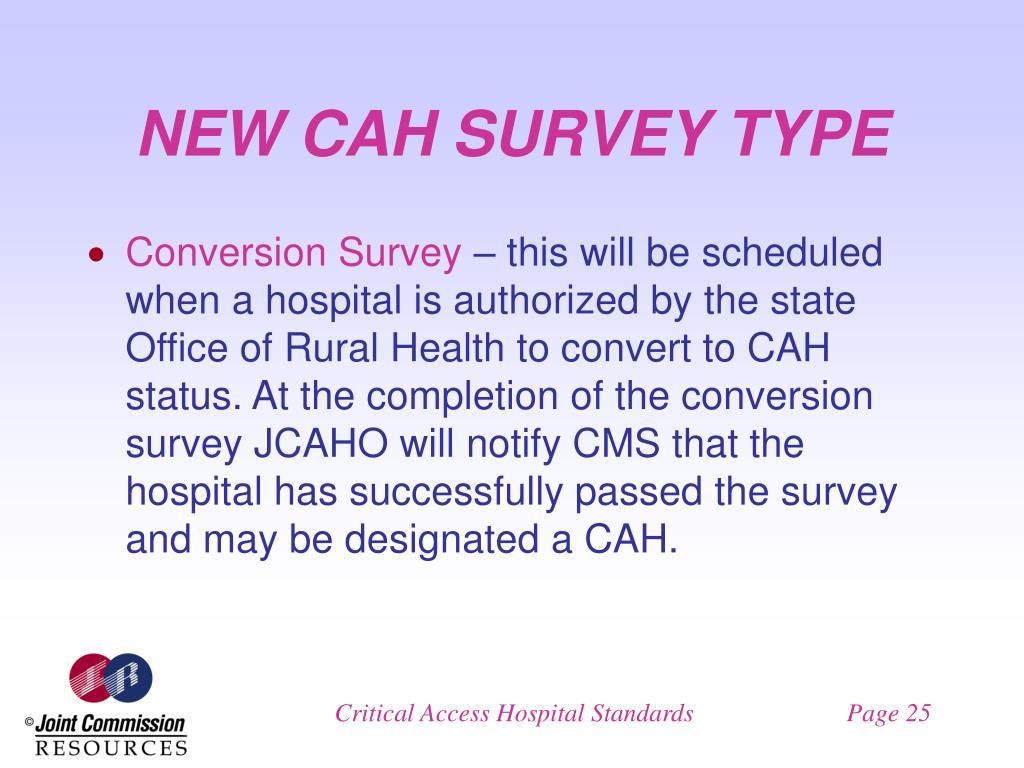 NEW CAH SURVEY TYPE