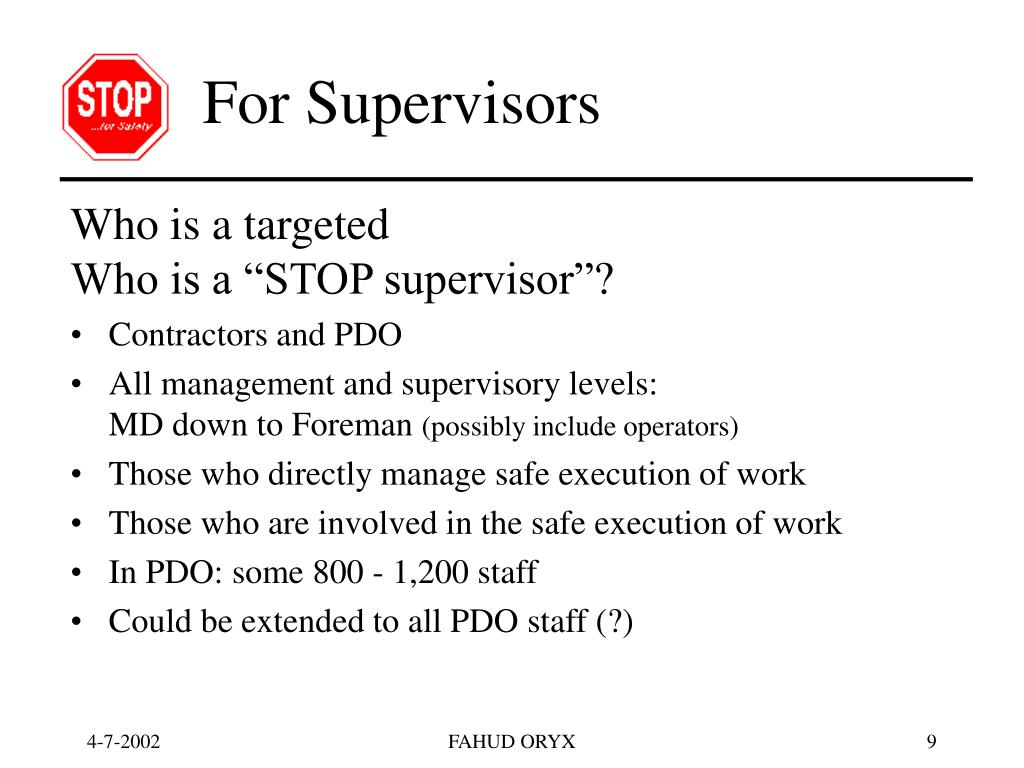 For Supervisors