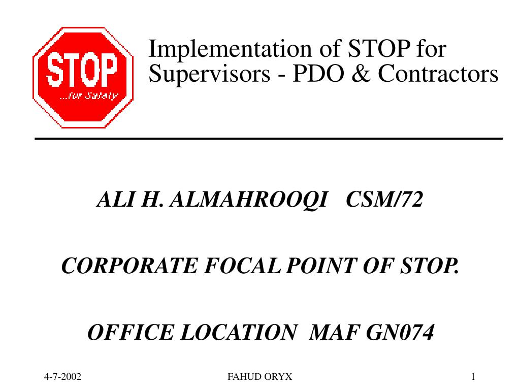 implementation of stop for supervisors pdo contractors