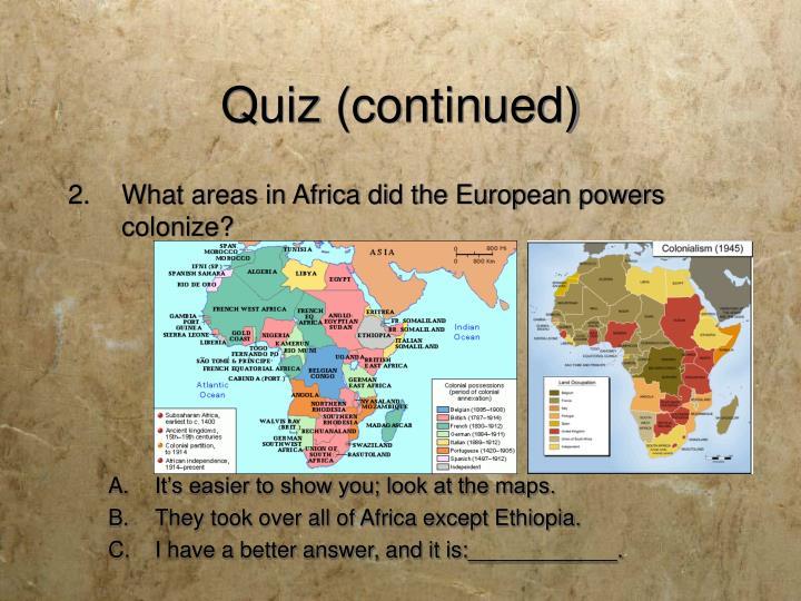 Quiz (continued)