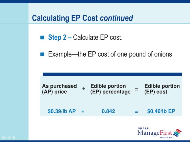 Calculating EP Cost