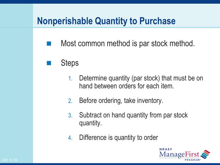 Nonperishable Quantity to Purchase