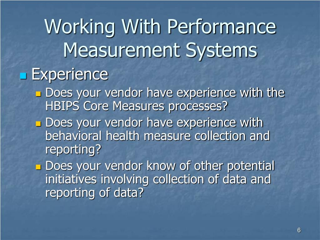 Working With Performance Measurement Systems
