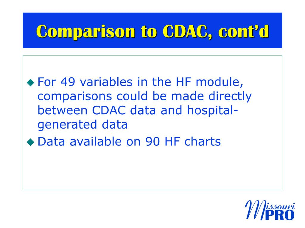 Comparison to CDAC, cont'd