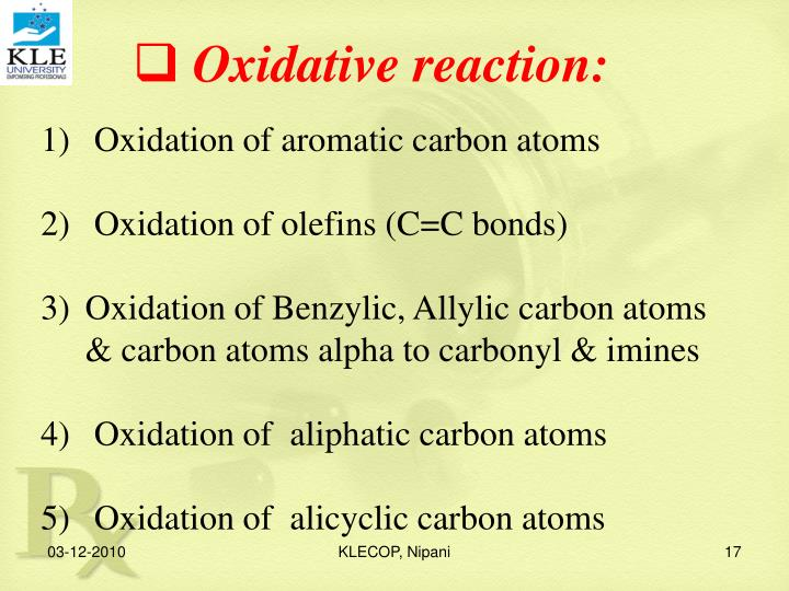Oxidative reaction: