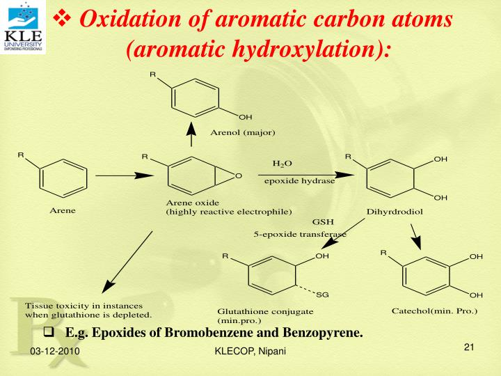 Oxidation of aromatic carbon atoms