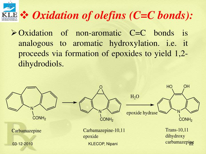 Oxidation of olefins (C=C bonds):