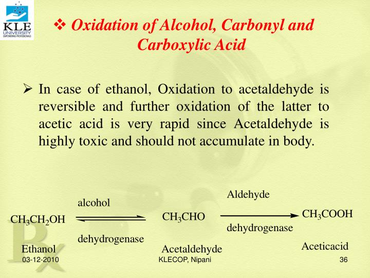 Oxidation of Alcohol, Carbonyl and