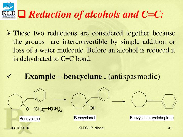 Reduction of alcohols and C=C: