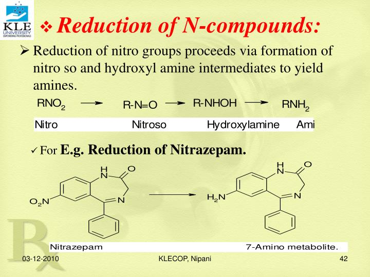 Reduction of N-compounds: