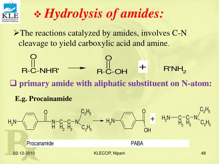 Hydrolysis of amides: