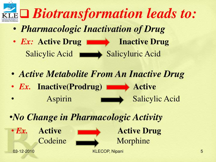 Biotransformation leads to: