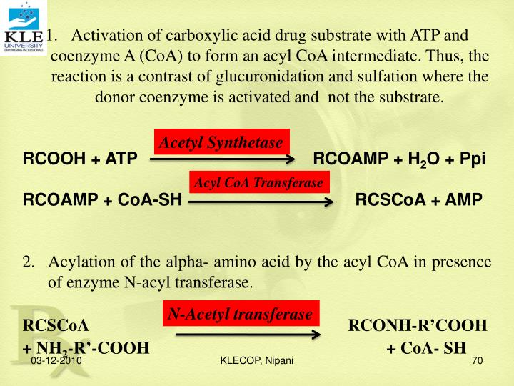 Activation of carboxylic acid drug substrate with ATP and coenzyme A (CoA) to form an acyl CoA intermediate. Thus, the reaction is a contrast of glucuronidation and sulfation where the donor coenzyme is activated and  not the substrate.