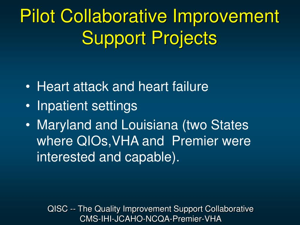Pilot Collaborative Improvement Support Projects