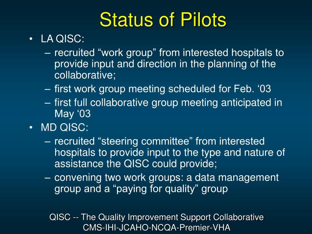 Status of Pilots