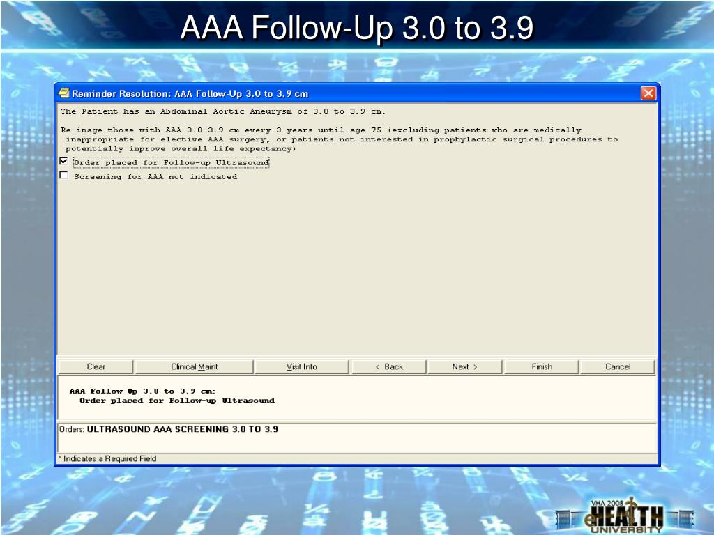 AAA Follow-Up 3.0 to 3.9