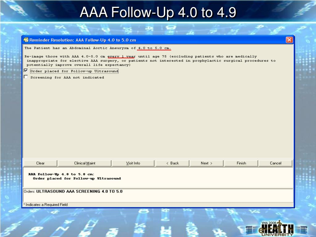 AAA Follow-Up 4.0 to 4.9