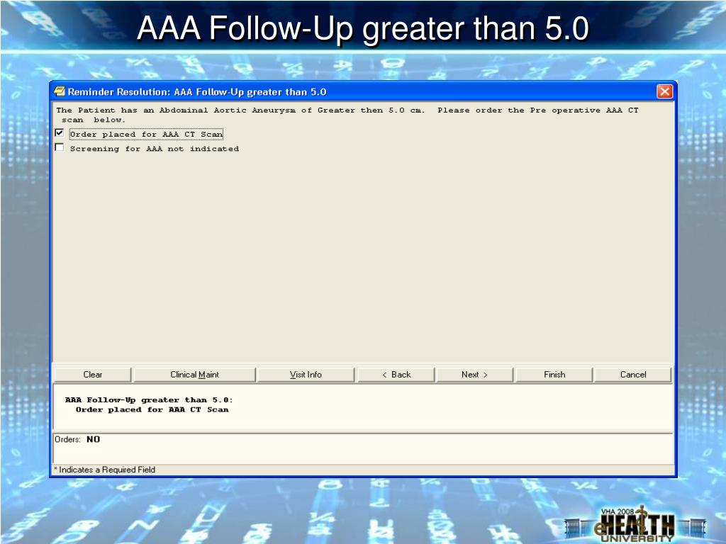 AAA Follow-Up greater than 5.0