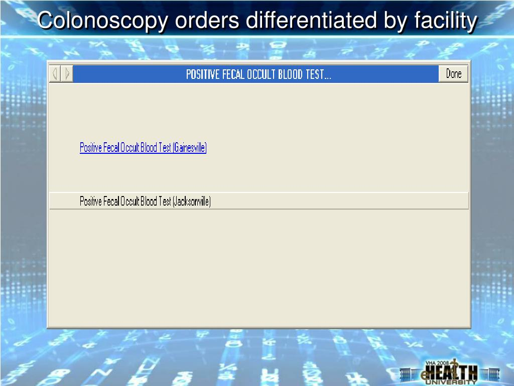 Colonoscopy orders differentiated by facility