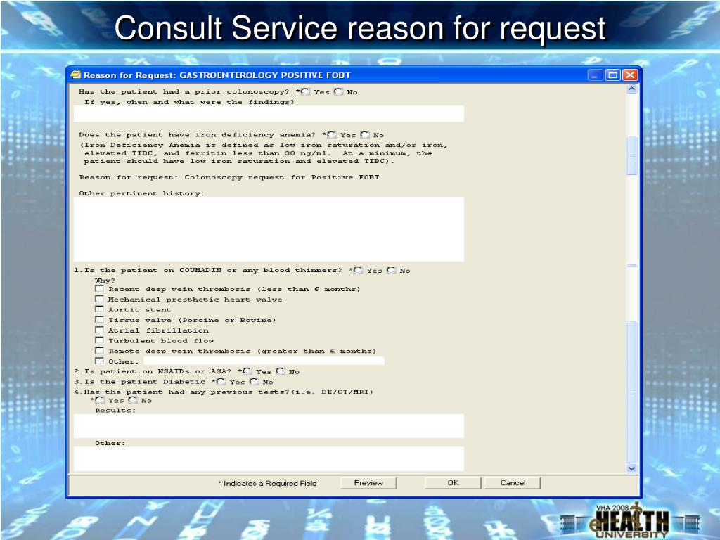 Consult Service reason for request
