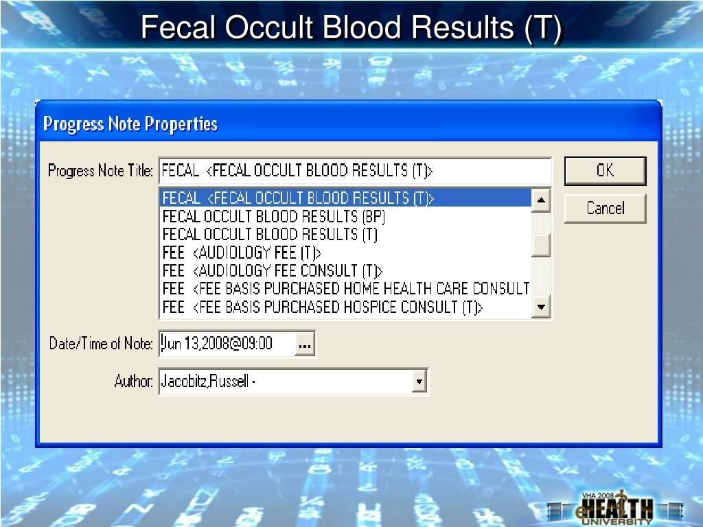 Fecal Occult Blood Results (T)