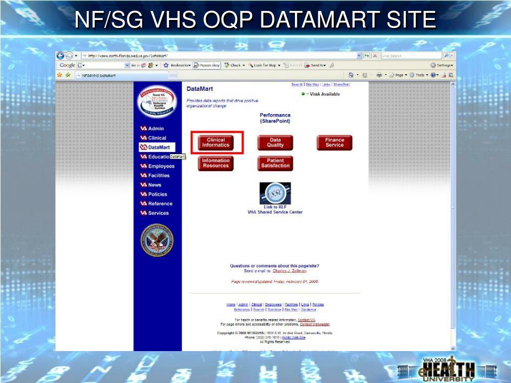 NF/SG VHS OQP DATAMART SITE
