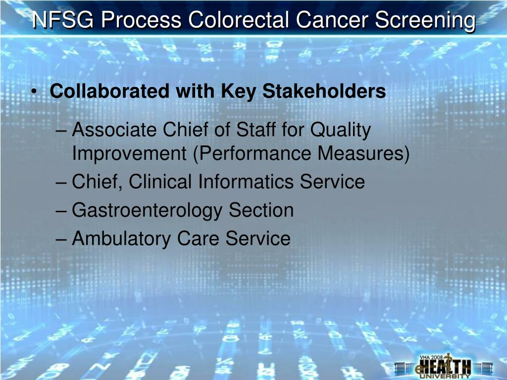 NFSG Process Colorectal Cancer Screening