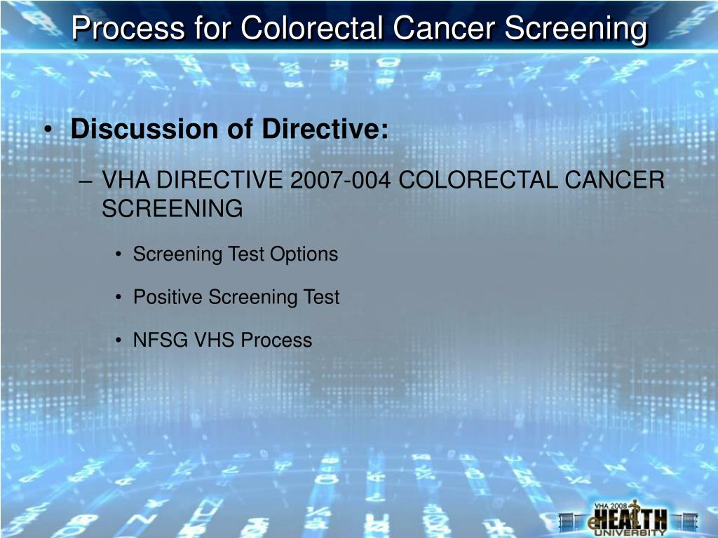Process for Colorectal Cancer Screening