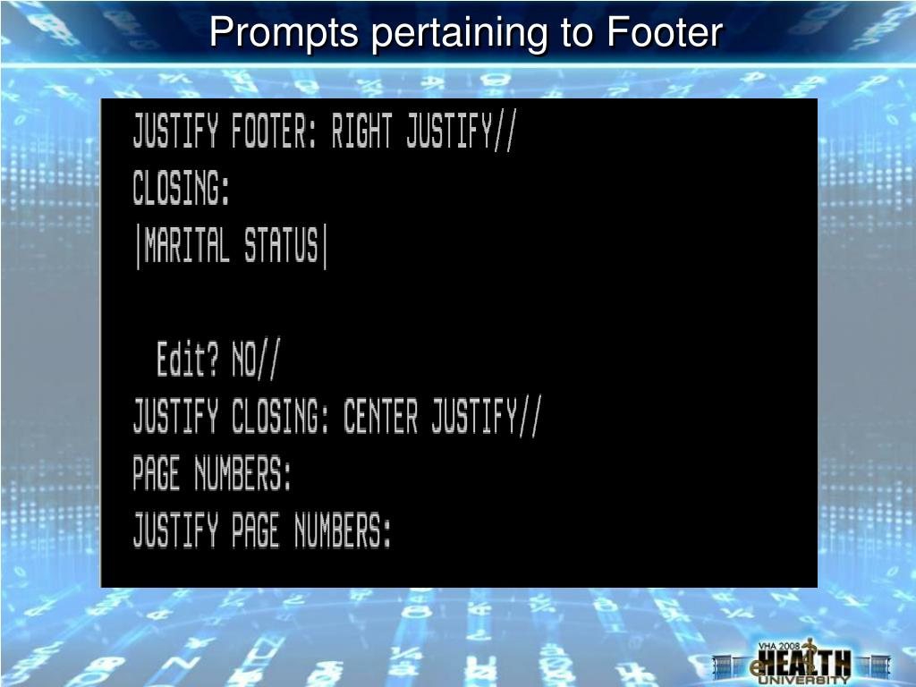 Prompts pertaining to Footer