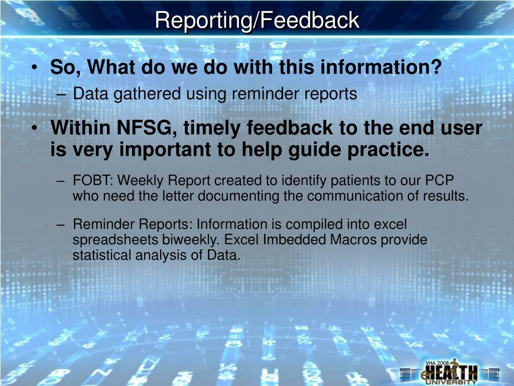 Reporting/Feedback