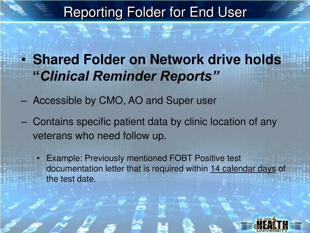 Reporting Folder for End User