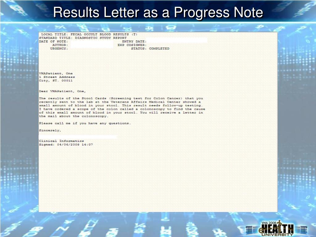 Results Letter as a Progress Note