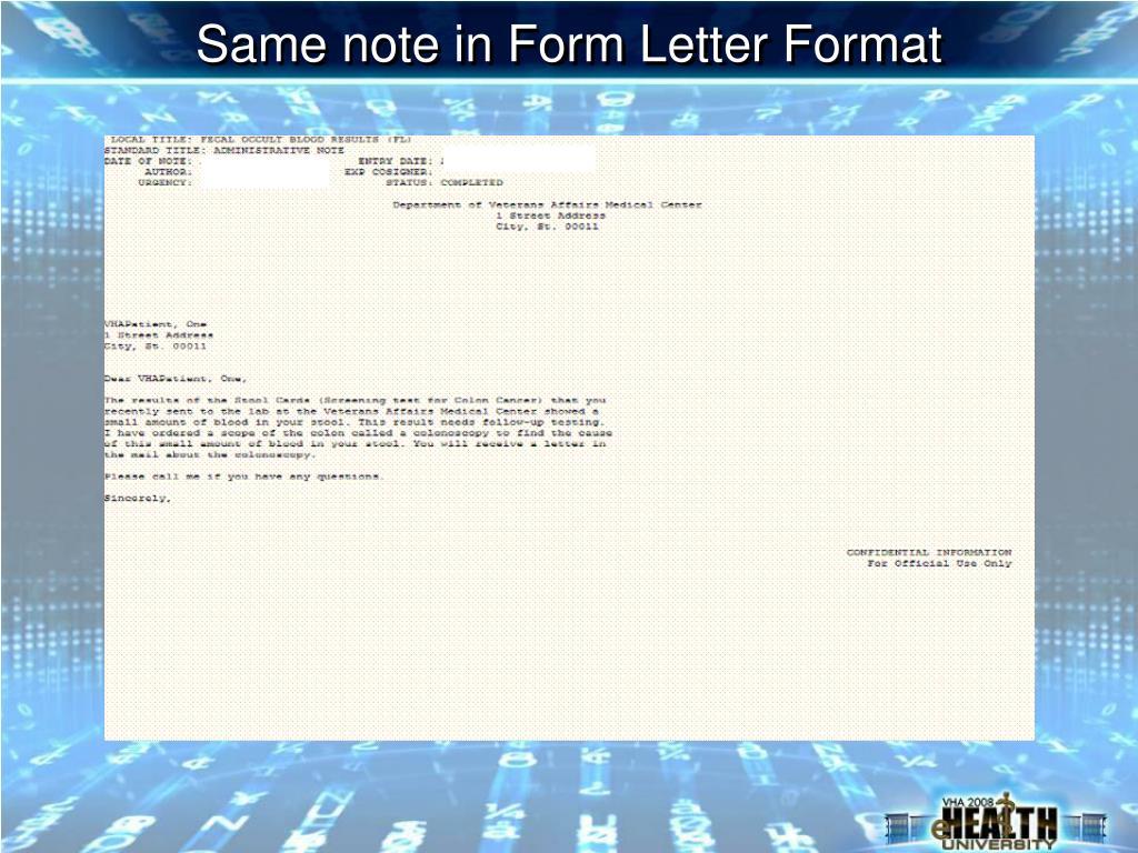 Same note in Form Letter Format