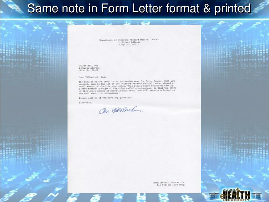 Same note in Form Letter format & printed
