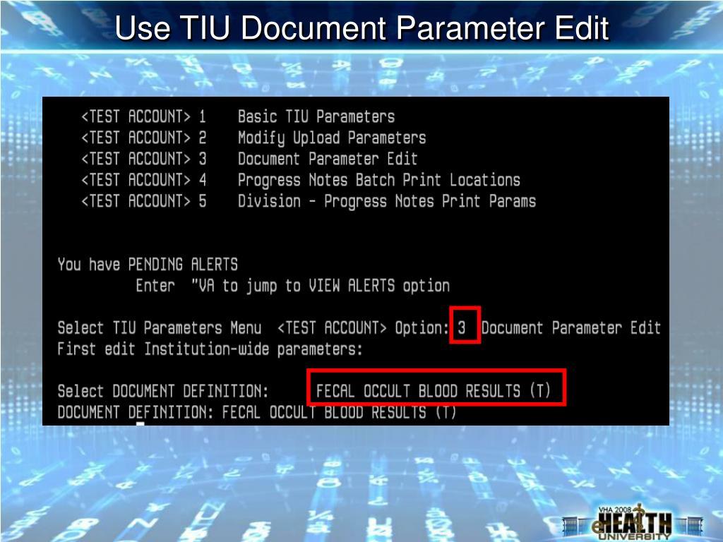 Use TIU Document Parameter Edit