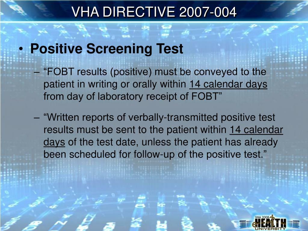 VHA DIRECTIVE 2007-004