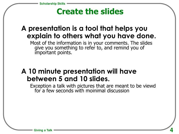 Create the slides
