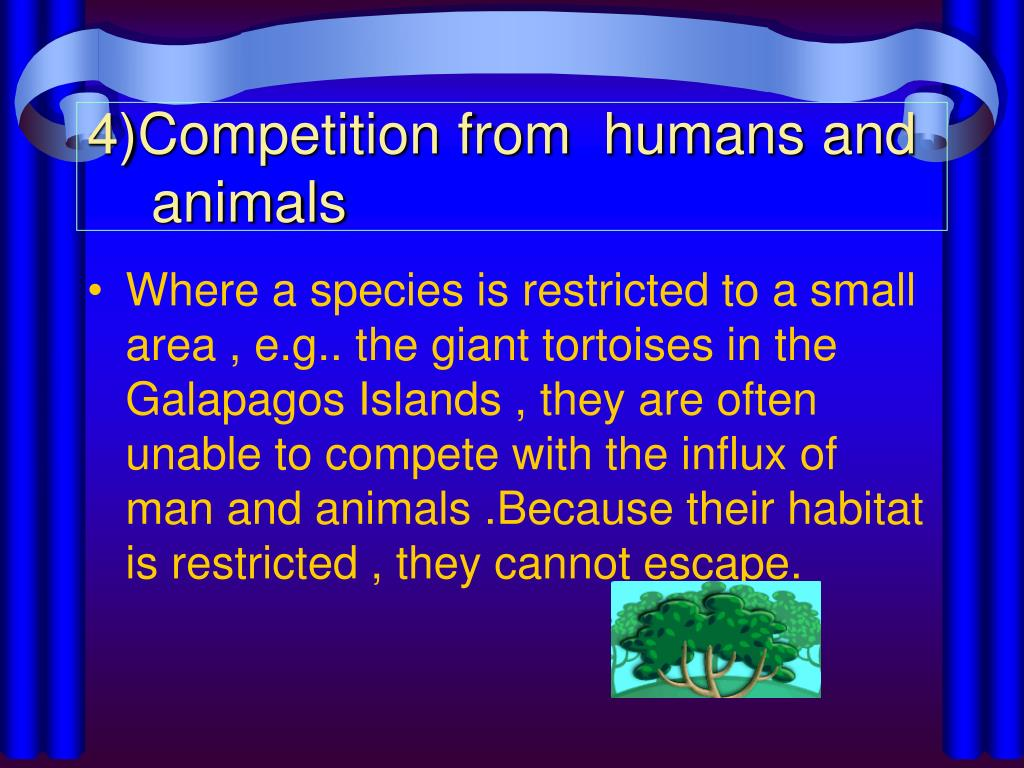 4)Competition from  humans and animals