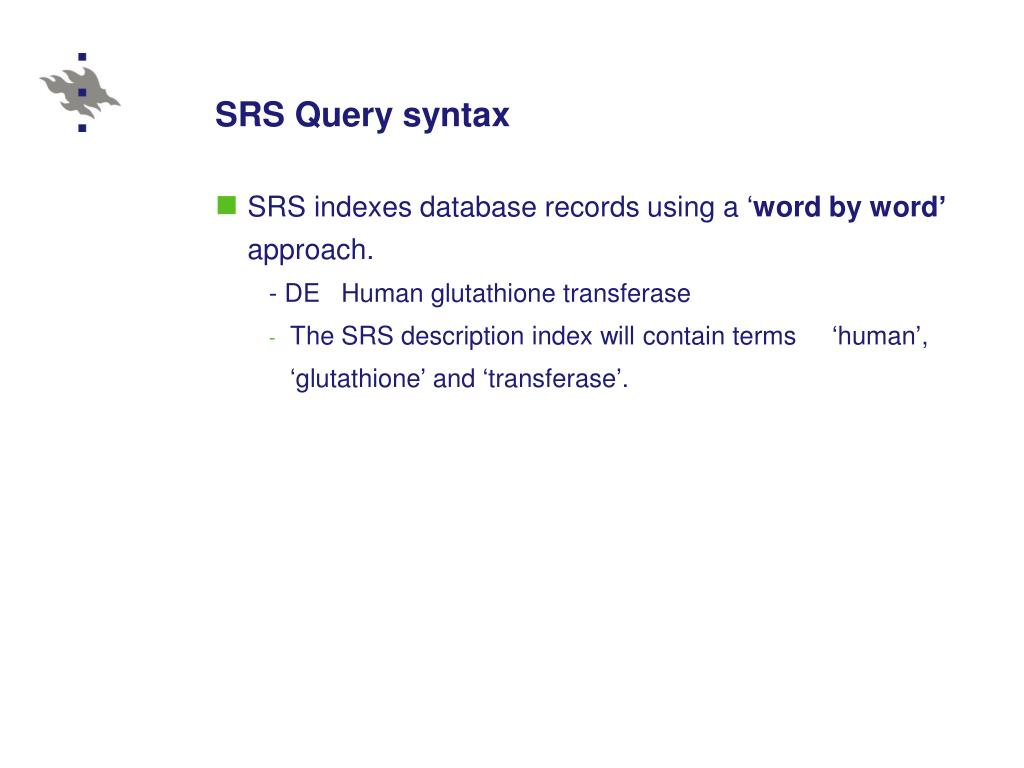 SRS Query syntax