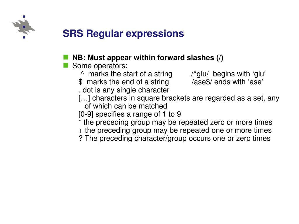 SRS Regular expressions