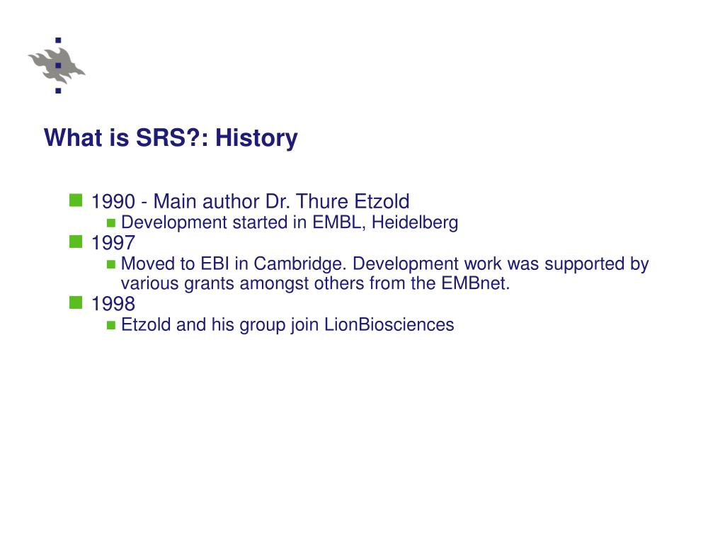What is SRS?: History
