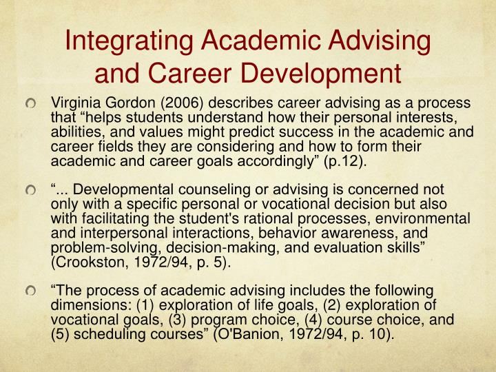 Integrating Academic Advising and Career Development