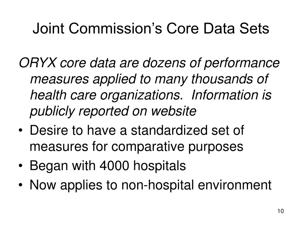 Joint Commission's Core Data Sets
