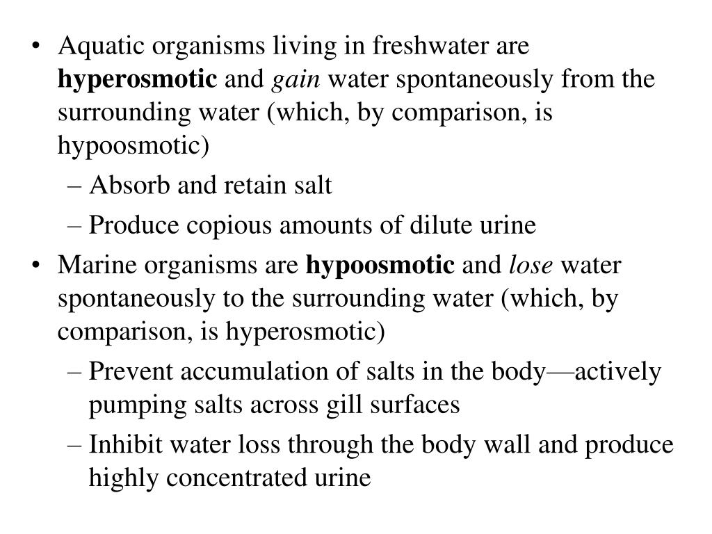 Aquatic organisms living in freshwater are